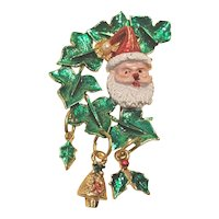 Vintage Brass Enameled Christmas Pin With Santa Dangles