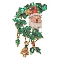 Vintage Brass Enameled Christmas Pin With Santa Dangles
