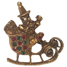 Vintage Antiqued Brass Santa In Sleigh Christmas Pin