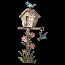 Vintage J.J. Enamel Bird House Pin With Dangle Bird