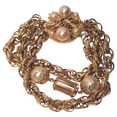 Vintage Looped Twisted Chain Faux Pearl Bracelet