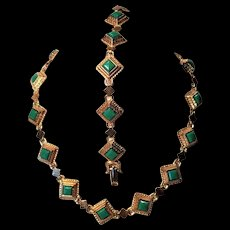 Vintage Brass Necklace and Bracelet with Green Glass Inserts With Convertible Length