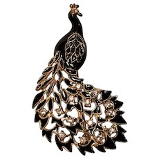 Vintage Brass Peacock Pin With Rhinestones and Black Enamel