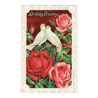 Vintage Postcard Birthday Greetings Doves and Rose Embossed Cut Edge Card