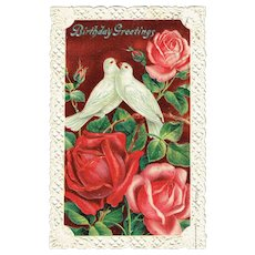 Vintage greeting cards ruby lane vintage postcard birthday greetings doves and rose embossed cut edge card m4hsunfo