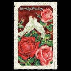 Vintage Postcard Birthday Greetings Doves and Rose Embossed Cut Edge Card