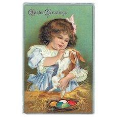 Vintage Postcard Easter Greetings Little Girl Holding Bunny