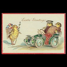 Vintage Postcard Easter Greetings Baby Chicks Driving Car Chick With Basket