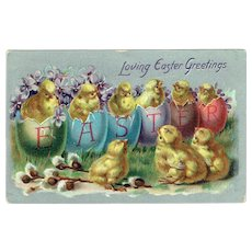 Vintage Postcard Tucks & Sons Loving Easter Greetings Baby Chick And Eggs