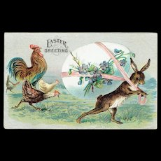 Vintage Postcard Easter Greeting Bunny With Easter Egg With Violets