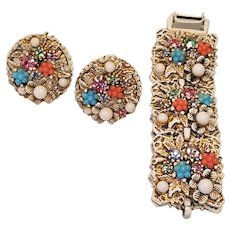 Beautiful Off White Vintage Art Company Spring Flowers Bracelet And Clip Earring Set