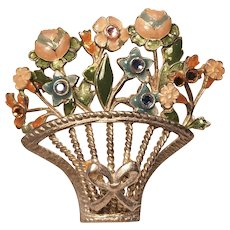 Vintage Enamel Open Work Spring Basket Pin With Flowers And Rhinestones