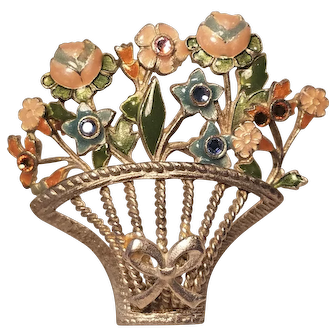 Vintage Enamel Open Work Spring Basket Pin With Flowers And Rhinestones