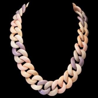 Vintage Spring Color Lucite Linked Necklace