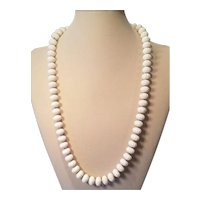Vintage Monet White Lucite Melon Bead 28 inch Necklace