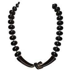 Vintage Trifari Modernist Necklace With Black Enamel and Lucite Beads