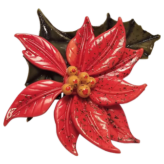 Vintage Christmas Lucite Poinsettia Pin With Raised Beaded Center