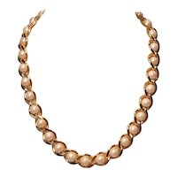 Vintage Retro Gold Tone Chain With Simulated Glass Pearls Necklace