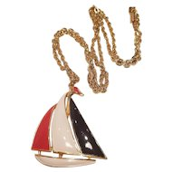 Vintage Red White And Blue Enamel Sailboat Necklace and Pendant