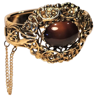 Whiting And Davis Filigree Clamper Bracelet With Cabochon Stone