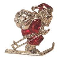 Vintage Christmas Pin Skiing Santa Red Enamel With Rhinestones