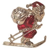 Vintage Christmas Pin Skiing Santa Red Enamel With Rhinestones