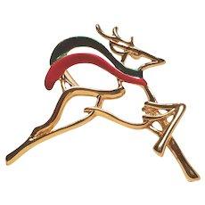 Vintage Dane Craft Christmas Reindeer Pin