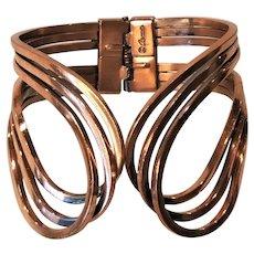 Vintage Copper Renior Clamper Bracelet Artist Signed
