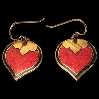 Vintage Isle Of The Skye Brass Dangle Enamel Wire Earrings