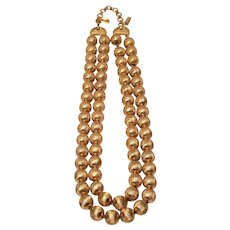 Vintage Monet Double Strand Gold Tone Brushed Metal Necklace