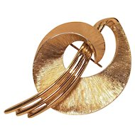 Vintage Monet Mid-Century Modern Brushed Gold Tone Pin