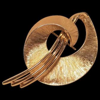 Vintage Monet Mid-Century Modern Brushed Gold Tone Pin