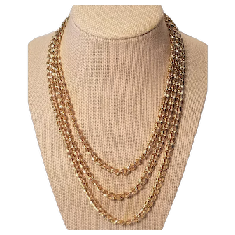 Vintage Monet 54 inch Long Chain Link Necklace
