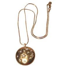 Vintage Monet Locket With Rhinestone Stars Necklace