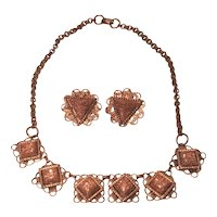 Vintage Copper Filigree Necklace Set With Clip Earrings