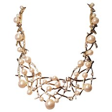 Vintage Anne Taylor Large Faux Pear And Rhinestone Statement Necklace
