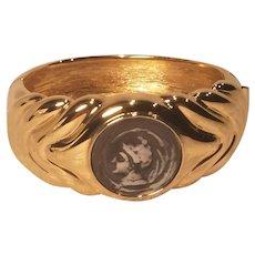 Vintage Joan River Roman Coin Clamper Bracelet