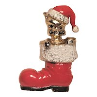 Vintage Christmas Pin Cat In Red Santa Shoe