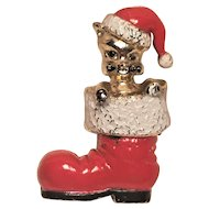 Vintage MYLU Christmas Pin Cat In Red Santa Shoe