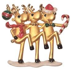 Vintage Dancing Reindeer's Pin by AJC