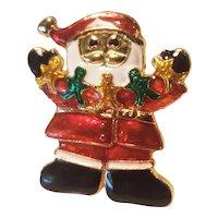 Vintage Santa Claus Christmas Pin Holding Gingerbread Men