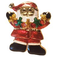 Vintage Santa Claus Christmas Pin Holding Gingerbread Men