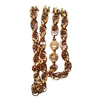 Vintage Rope Chain With Twisted Open Link Beautiful Gold Tone Finish