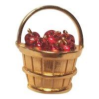 Vintage Basket Pin With Red Enameled Apples