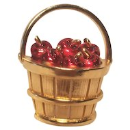 Vintage Basket Pin With Red Enameled Apples