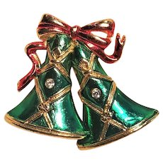 Vintage Christmas Bells And Bow Enamel Pin By SFJ