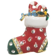 Vintage Christmas Shoe Stuffed With Candy Canes And Holly