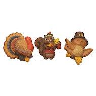 Vintage Hallmark Thanksgiving Bird Colorful Turkey and Chipmunk Pins