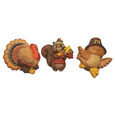 Vintage Hallmark Thanksgiving Bird Colorful Turkey and Chipmunk Pins