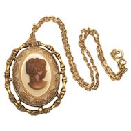 Vintage Glass Embossed Cameo And Pendant Antiqued Bamboo Setting